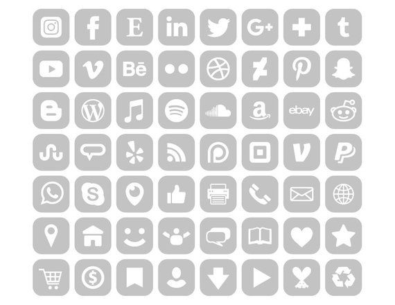 Square Gray Social Media Icons Set Png Svg Vector Etsy In 2021 App Store Icon Social Media Icons Iphone App Design
