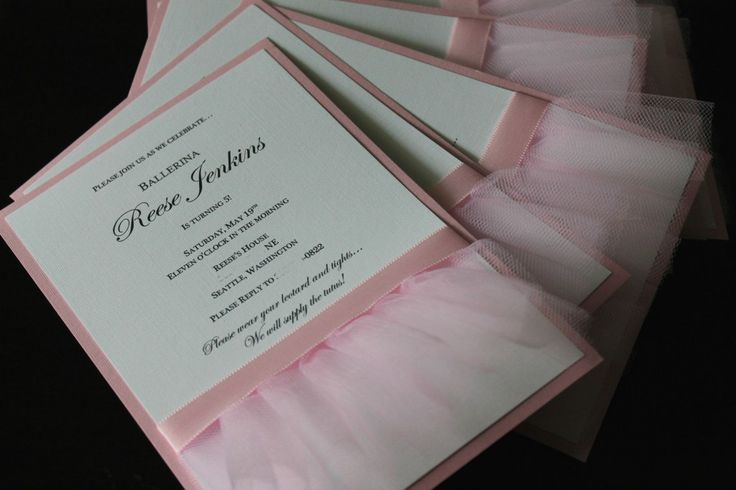 Tutu Invite - love this one! Sew a tutu on to whatever invite you like! this one has a ribbon wrapped around