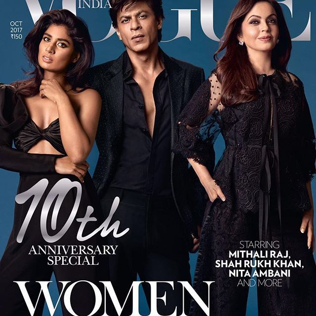 A perfect 10! What achievers! It's a perfect ten! Mithali Raj (@mithaliraj) Shah Rukh Khan (@iamsrk) and Nita Ambani Photographed by: Greg Swales Styled by: Anaita Shroff Adajania (Shah Rukh Khan) and Priyanka Kapadia (@priyanka86) (Mithali Raj, Nita Ambani)