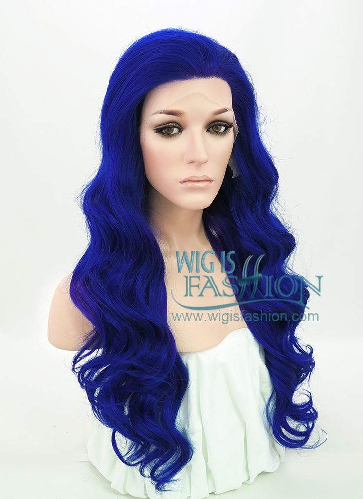 "24"" Long Curly Royal Blue Lace Front Synthetic Fashion Wig LF372 - Wig Is Fashion"
