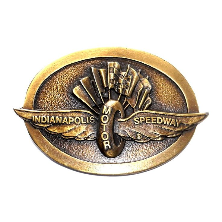 Indianapolis Motor Speedway Vintage Indy 500 Brass Belt Buckle