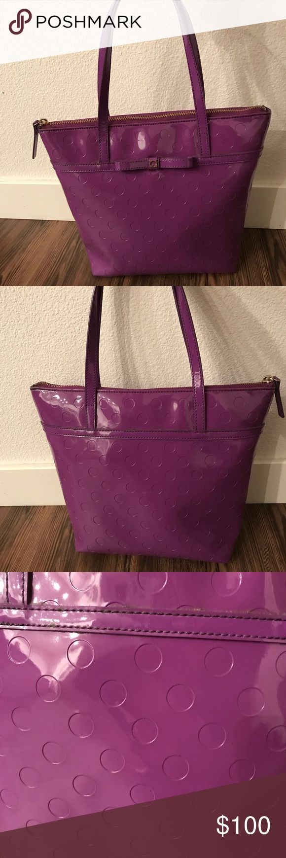 Kate Spade Purple Tote Bag -Kate Spade -Purple tote bag -Super cute, fun color for spring!  -2 small stains on inside of purse as shown in pics, but the outside of purse is in perfect condition! kate spade Bags Totes