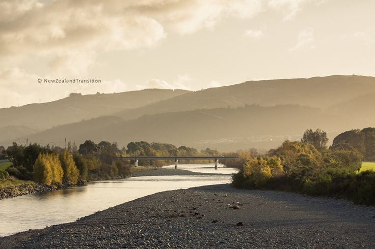 autumn foilage in sunset light along hutt river
