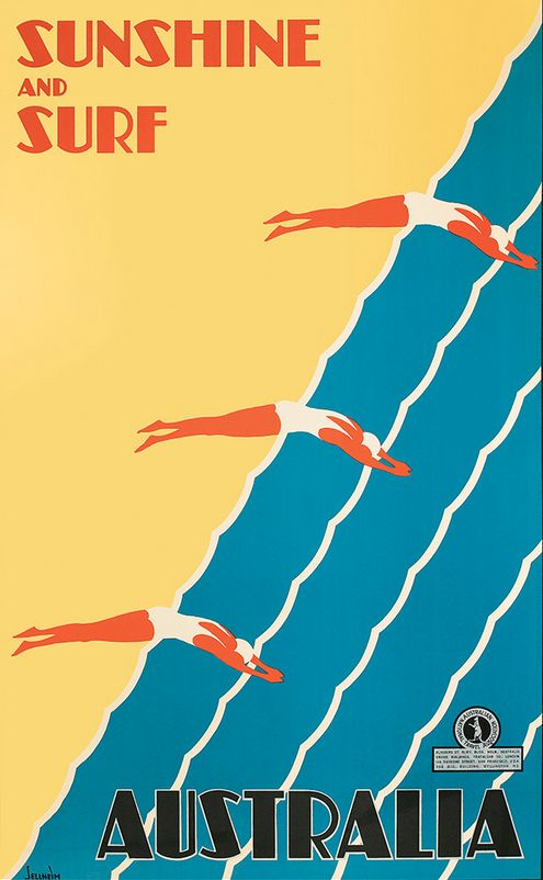 Gert Sellheim (1901-1970), ca 1936, Sunshine and surf Australia. Sellheim was an architect for two years and then turned to designing posters. Along with James Northfield and Percy Trompf, Sellheim is considered to be one of the finest artists who designed travel posters in Australia in the 1930s.