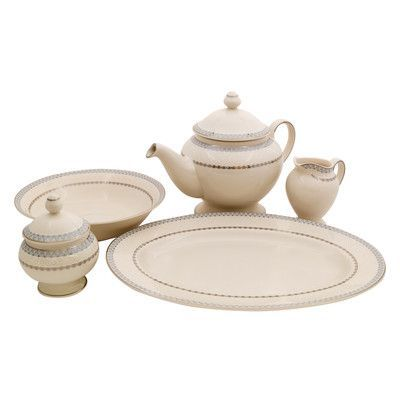 Shinepukur Ceramics USA, Inc. Wik Ivory China Traditional Serving 5 Piece Dinnerware Set