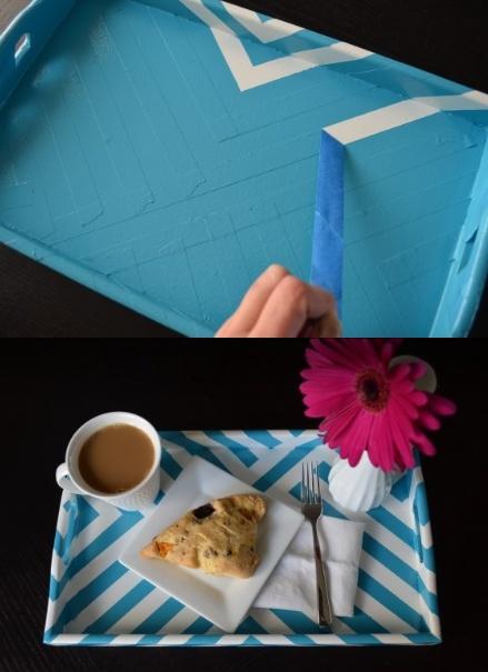 DIY Striped Breakfast Tray!Ideas, Diy Stripes, Breakfast Bonanza, Matching Bedrooms, Breakfast Trays, Projects Crafts Diy, Trays Add, Stripes Breakfast, Diy Projects