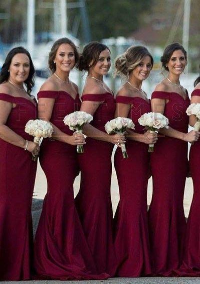 89cf945b0cb7 Elastic Satin Mermaid Off-The-Shoulder Burgundy dress  Feeltimes   Bridesmaiddress