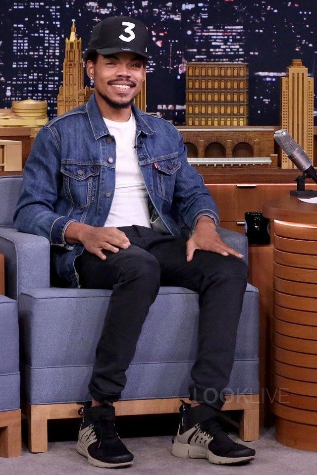 Chance The Rapper  wearing  Nike ACRONYM x NikeLab Air Presto Mid Sneakers, Fan Merchandise Chance 3 Snapback