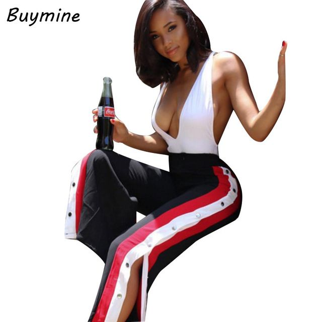 Get Cheap $10.64, Buy High Split Woman Wide Leg Pants Fashion Side Button Pants Loose Casual Trousers For Women Wide Legs Pants 2017 CalCa Feminina X