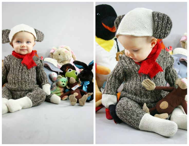 thrift store diy sock monkey costume for baby - Toddler And Baby Halloween Costume Ideas
