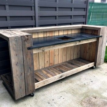 diy tutorial easy pallet bar made using 2 pallets artesanias deco pinterest garten. Black Bedroom Furniture Sets. Home Design Ideas