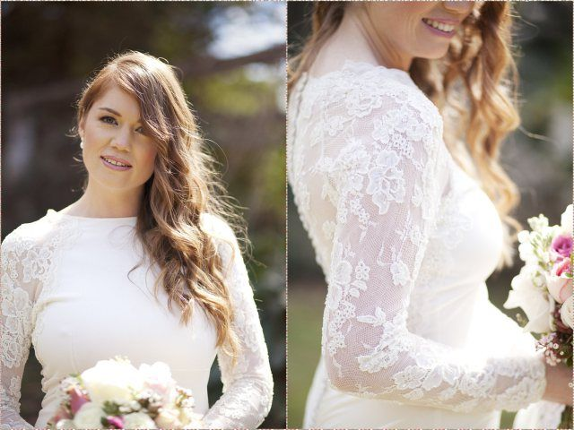 Ivory silk jersey wedding dress with beaded lace back and sleeves. Dress by Janita Toerien. Photo by Fiona Claire Photography.