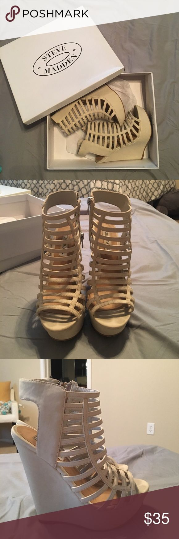 Steve Madden Cut Out Wedges Steve Madden cream colored cut-out heels. Good condition! Pairs great with any dress of jeans ✨Size: 7 ✨Fits: 6.5/7 ✨Make an offer!  ❣️24 hr shipping on all orders! Steve Madden Shoes Wedges