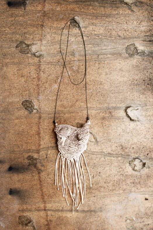 FROM THE WOODS - special designer Fringe Necklace Macrame Beige