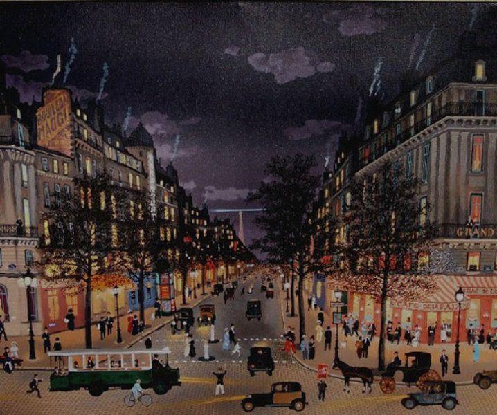 """Limited Edition Print """"Les Grands Boulevards La Nuit"""" by Michel Delacroix"""