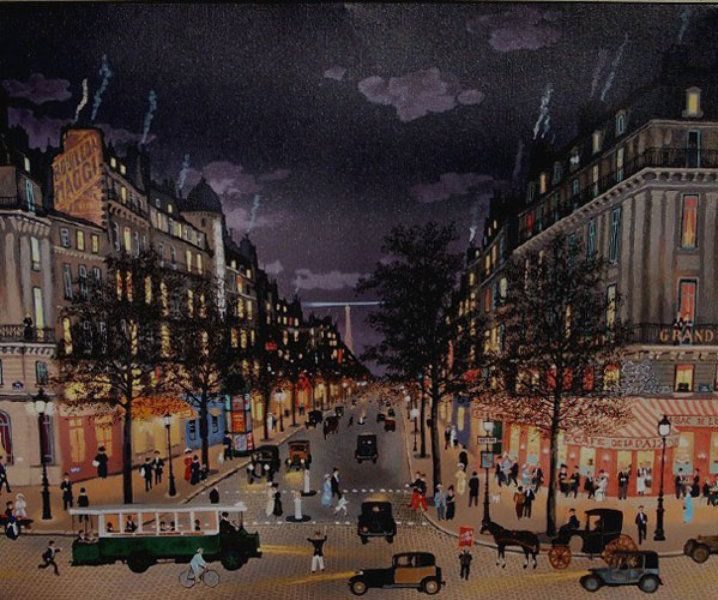 "Limited Edition Print ""Les Grands Boulevards La Nuit"" by Michel Delacroix"