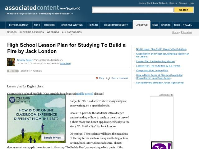 studying to build a fire by jack london lesson plan lesson planet higher level literature. Black Bedroom Furniture Sets. Home Design Ideas