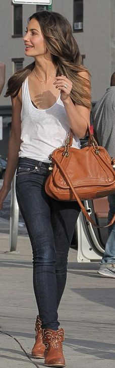 Summer #streetstyle | Lily Aldridge with a Chloe purse and Isabel Marant ankle wedge booties