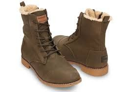 TOMS Womens Alpa Boots Olive Faux Leather Boots Size 6.5