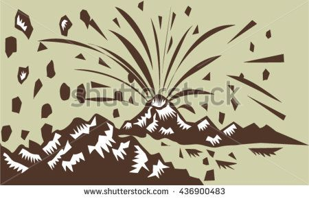 Illustration of a volcano erupting volcanic eruption resulting to island formation done in retro woodcut style. #volcano #woodcut #illustration