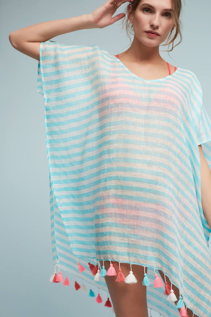 Slide View: 1: Striped Kaftan Cover-Up