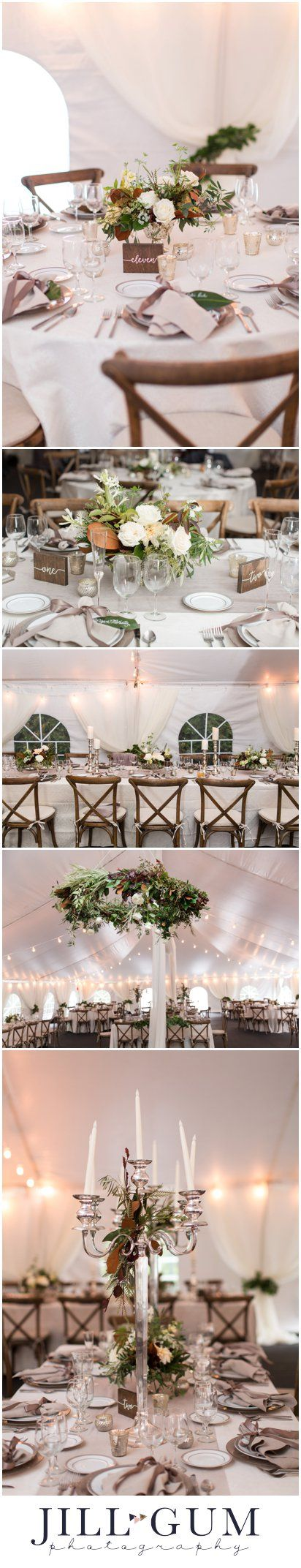 Elegant outdoor fall wedding, outdoor white tent wedding reception, sophisticated outdoor fall wedding, neutral fall wedding, classy outdoor fall wedding, True Colors Floral Artistry florals, luxurious outdoor wedding, white tent wedding reception, floral centerpieces, Jill Gum Photography, IL Wedding Photographer, Midwest weddings, floral chandelier, elegant neutral place settings for reception, long tables and round tables for wedding reception, reception place setting inspiration