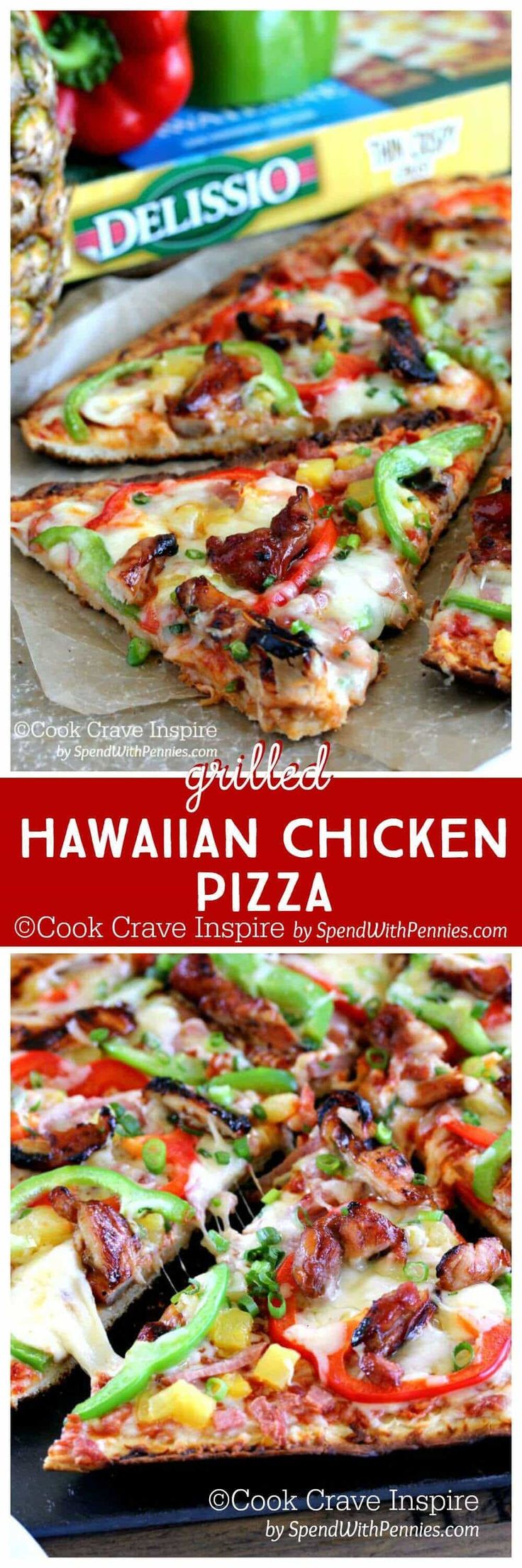 Hawaiian Chicken Grilled Pizza!  Total pizza perfection on the grill with ham and pineapple pizza topped with chicken & peppers! An easy appetizer or meal!