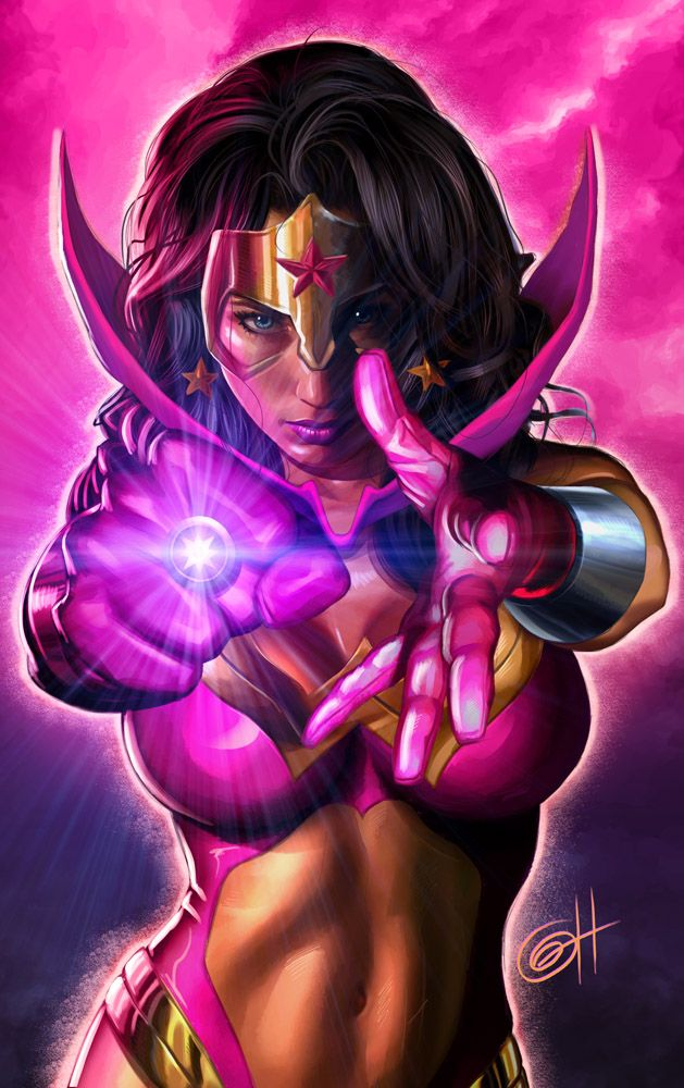 Wonder Woman With A Pink Lantern Ring Superhero Art Wonder Woman Art Star Sapphire Dc