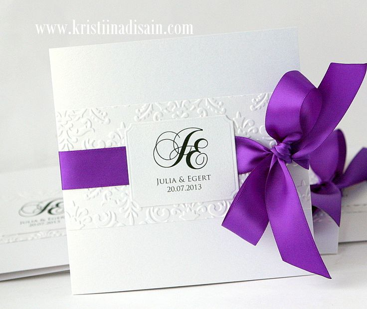 white and purple wedding invitations