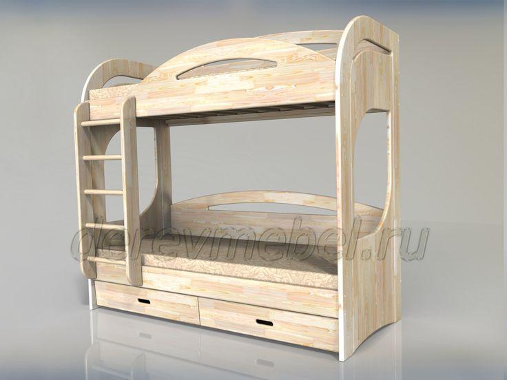 Елена-2 Двухъярусная кровать с ящиками - мебель из сосны