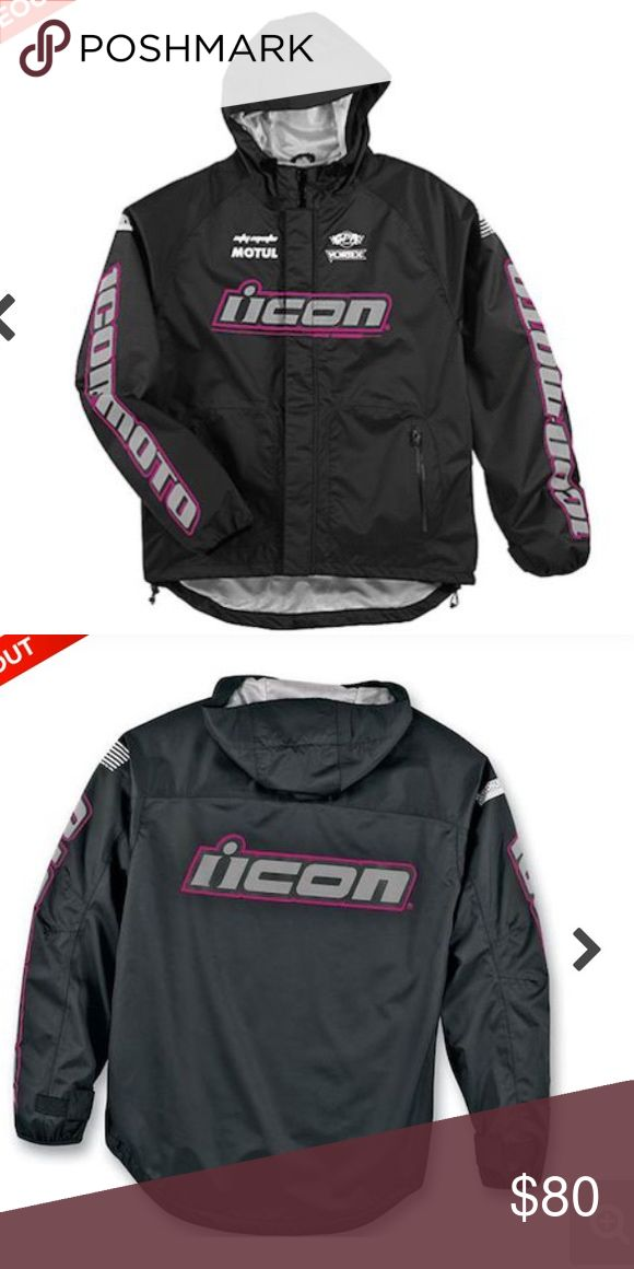 Icon motorcycle jacket Like new Icon motorcycle nylon windbreaker. Only worn a few times,excellent condition. Long back so u can sit on flap and it won't blow up in the wind! ICON Jackets & Coats