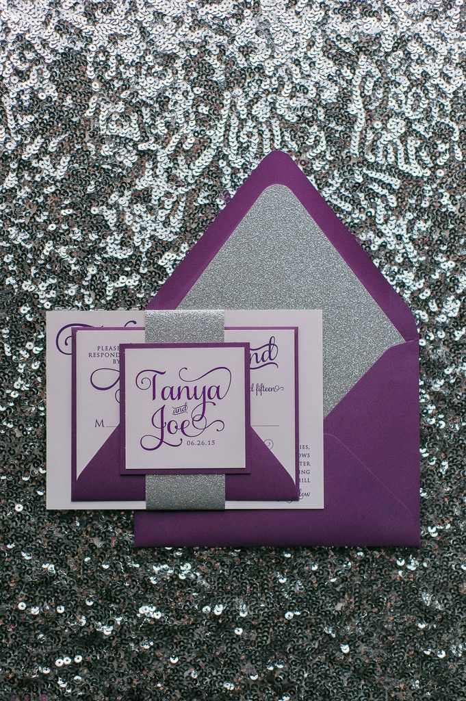 ADELE Suite Glitter Package, purple and silver, glitter wedding invitations, whimsical wedding invitation font, violet wedding