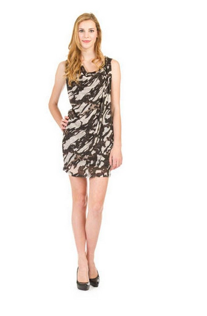 Animal Print Drape Neck Dress – TWISTED LABEL