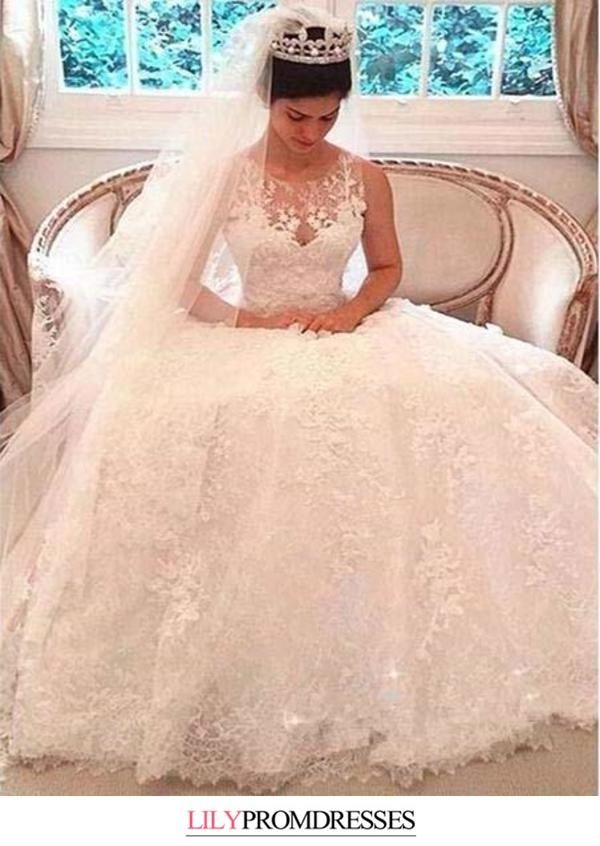 A Line Luxury Illusion Lace Scoop Wedding Gowns Ivory Cheap Wedding Dresses In 2020 Wedding Dresses Uk Cheap Wedding Dresses Uk Illusion Wedding Dress