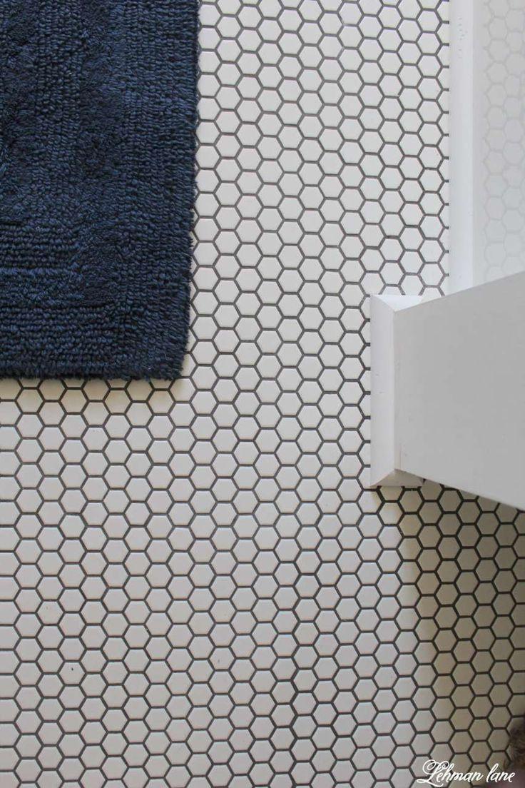 Best mom cushion cover valentineblog net - Farmhouse Boys Bathroom White Hexagon Tile And Gray Grout