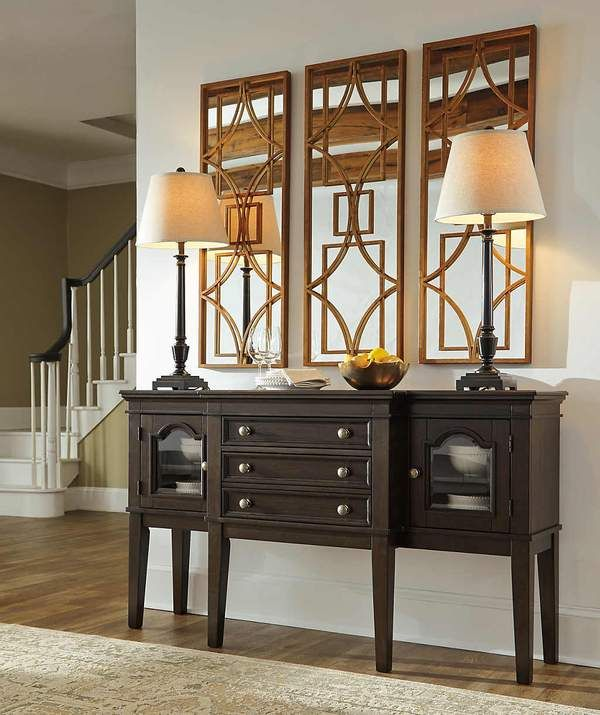 Alexee Server - With its beautiful breakfront design, arched framed glass doors and craftsman-style knobs with hammered effect, the Alexee server is timeless charm, brilliantly served. Adjustable shelved storage and a trio of drawers for silverware and utensils make it abundantly practical.