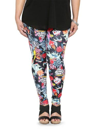 Plus Size Tattoo Print Fashion Bug Leggings www.fashionbug.us