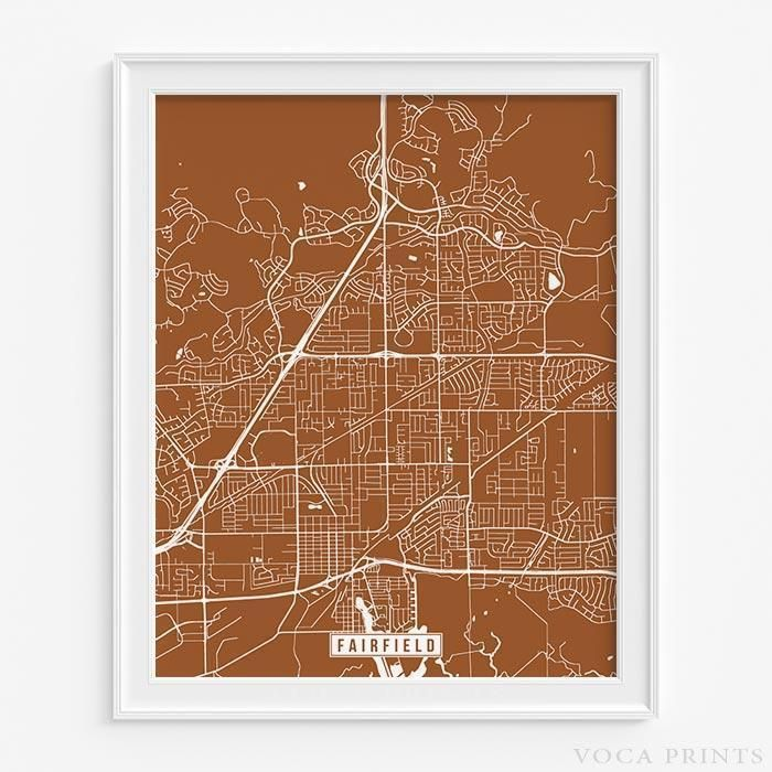 Fairfield california street map print 199 best