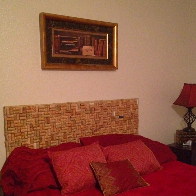 My wine cork headboard- for all of y'all that helped me collect them: thank you :)