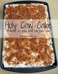"""This easy to make Holy Cow Cake will have you saying """"Holy Cow!"""" after the first bite. Chocolate, Butterfinger, caramel, and whipped cream all in 1 bite."""