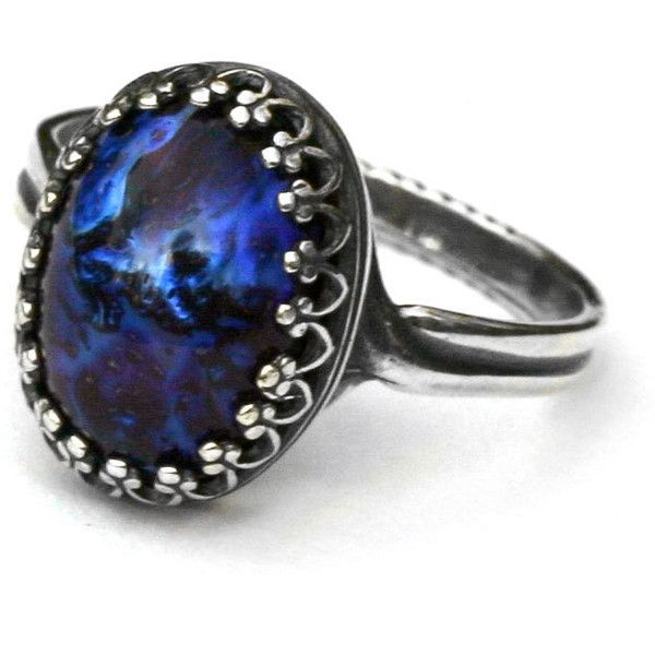 Galaxy Opal Ring - Blue Dragon Breath ($28) ❤ liked on Polyvore featuring jewelry, rings, accessories, opals, nickel free jewelry, opal jewellery, opal jewelry, blue rings and galaxy ring