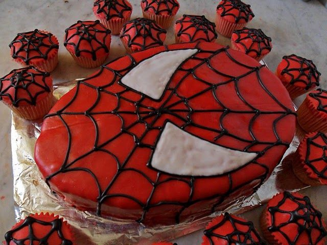 spiderman cake and cupcakes.