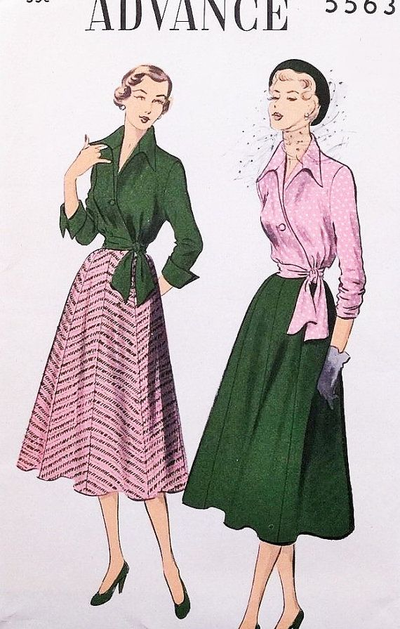 50s Beautiful Wing Collar Wrap Blouse Eight Gore Skirt Pattern Advance 5563 Bust…