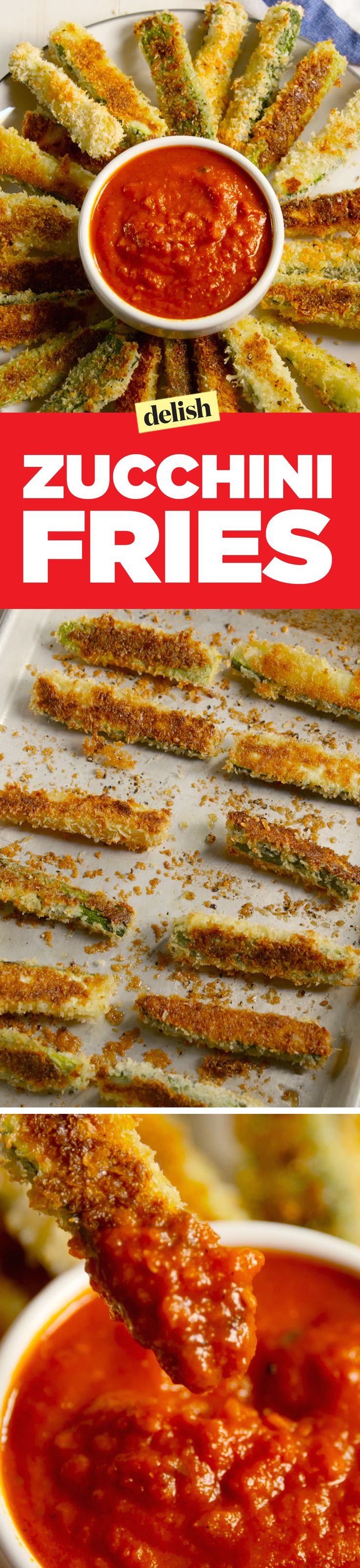Zucchini fries are low in carbs, but HIGH in flavor. Get the recipe on Delish.com.