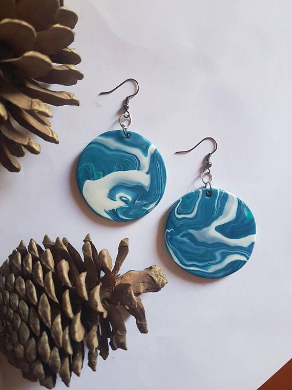 Big turquoise round earrings Blue white sea waves earrings