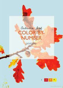 Autumn Leaf Color By Number Printables