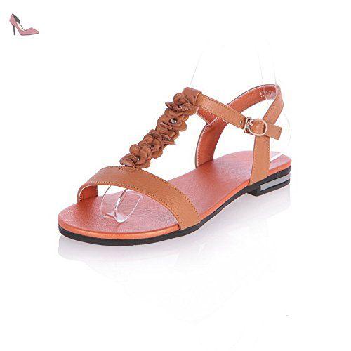 AgooLar Femme Ouverture D'Orteil à Talon Bas Couleur Unie Sandales, Brun, 38 - Chaussures agoolar (*Partner-Link)