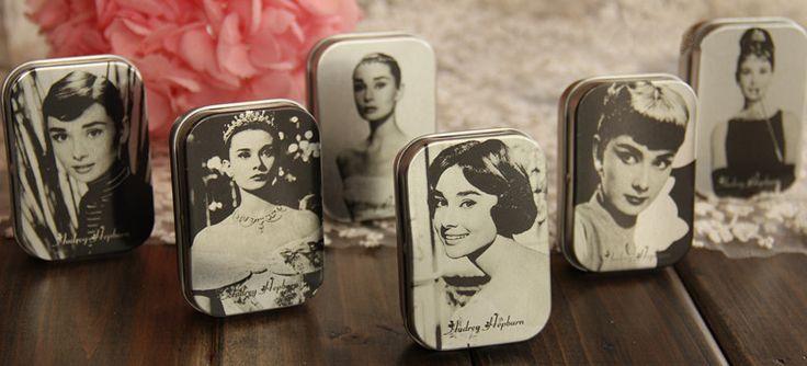 Винтажный одри хепберн олово конфетная коробка металл коробка олово прямоугольная реквизит для фотосъёмки новинка элементы
