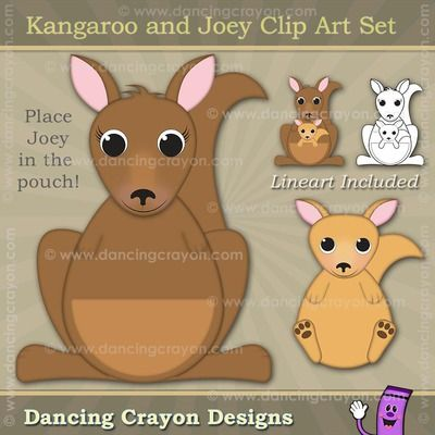 Kangaroo and Joey clipart.  Place the Joey in the mama kangaroo's pouch.  Create your own teaching resources with these commercial-use graphics.