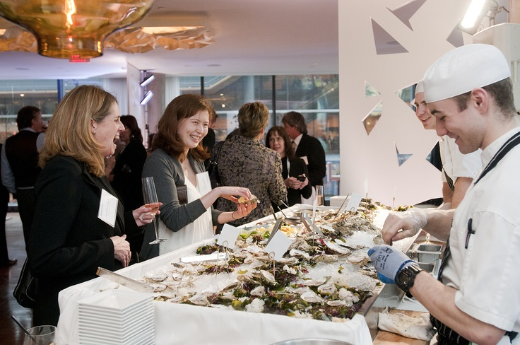 Another beautiful event at Oru Restaurant... #Chef's Action Station - shucking fresh #BC #oysters.